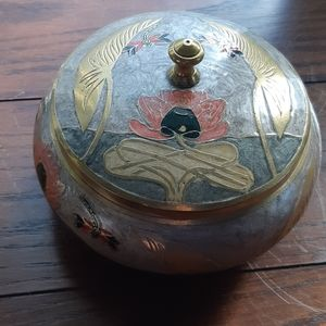 Vintage Cloisonne Waterlily Brass Canister